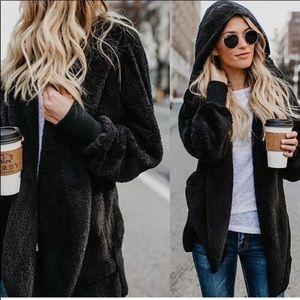 Jackets & Blazers - ✨LAST ONE ✨Black Sherpa fleece hooded jacket